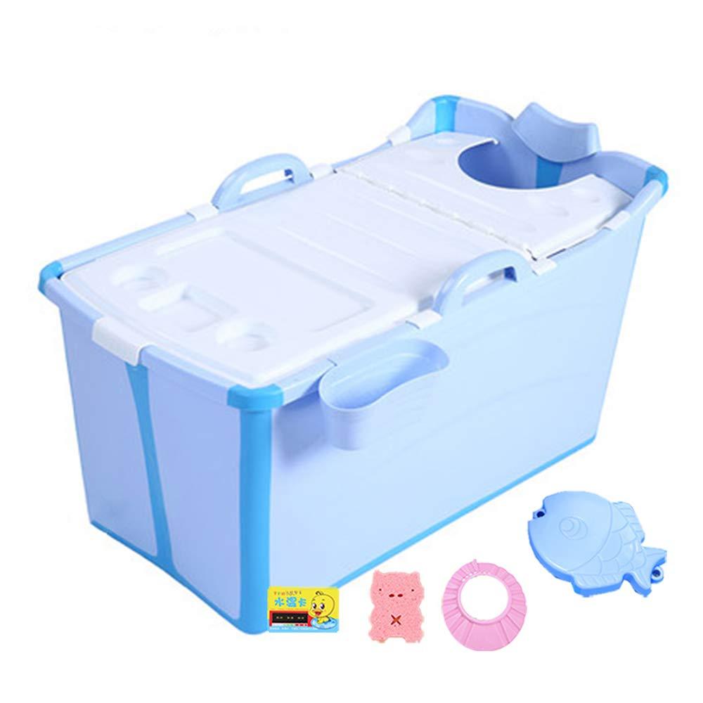 bluee Kids Large Foldable Bathtub, Double Outdoor Portable Bath Tub, Thickened Insulation Tub, Baby Plastic Adult Bath Tub Home,Pink