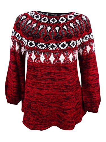Style & Co. Womens Plus Fair Isle Space Dyed Pullover Sweater Red 3X