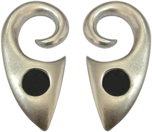Pesos de oreja de pareja plateados plata con piedra lava - Dos ...
