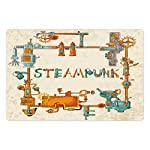 Printawe Colorful Pet Mat for Food and Water, Industrial Machines with Gears and Chains Steampunk Themed Cartoon Style Design, Rectangle Non-Slip Rubber Mat for Dogs and Cats, Multicolor 5