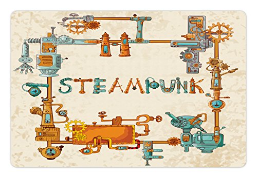 Printawe Colorful Pet Mat for Food and Water, Industrial Machines with Gears and Chains Steampunk Themed Cartoon Style Design, Rectangle Non-Slip Rubber Mat for Dogs and Cats, Multicolor