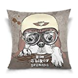 Chen Miranda Double Sided Square Pillowcase Portrait French Bulldog Cotton Velvet Throw Pillow Cushion Case Cover 18'' x 18'' Invisible Zipper Home Decor for Couch Sofa Car No Pillow Insert