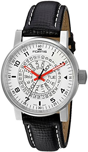 Fortis-Mens-6231052-L01-Spacematic-Classic-White-Red-Analog-Display-Automatic-Self-Wind-Black-Watch