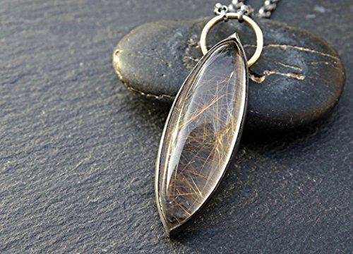(rutile quartz pendant black silver and 14k gold, golden rutilated quartz necklace, rutile quartz necklace mixed metal, marquise cut gemstone )