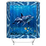A&S Creavention Two Dolphins Theme Design Shower Curtain 70'x70', 1pc
