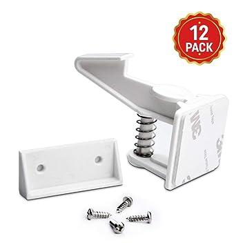 Child Safety Cabinet Locks Baby Proof Drawer Lock Kitchen Easily Installed 12Pcs