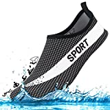 DCZTELG Outdoor Summer Water Shoes For Men Women Couple 350 v2 Stretchy Durable Sole Barefoot Quick-Dry Beach Yoga Aqua Socks For Pool (1-White/Black, M(W7.5-8.5/M:6.5-7.5))
