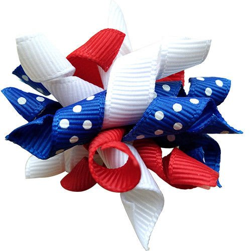 Masue Pets 10pcs/pack US Independence Day Dog Hair Bows Curves Rubber Bands the forth of July Pet Grooming Products Accessories (blue polka dot) by Masue Pets