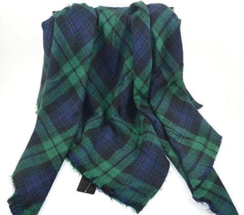 99657d0bb7c21 Amazon.com  Lady Women Blanket Oversized Tartan Scarf Wrap Shawl Plaid Cozy  Checked Pashmina Green Blue  Clothing