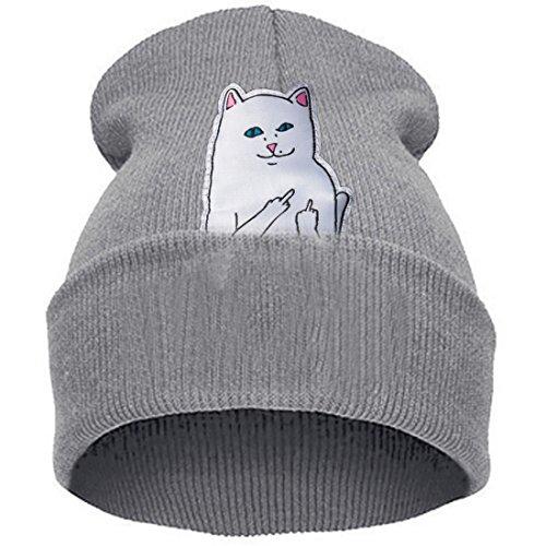 Thenice women's winter wool cap hip hop knitting skull hat (Middle middle finger cat gray)