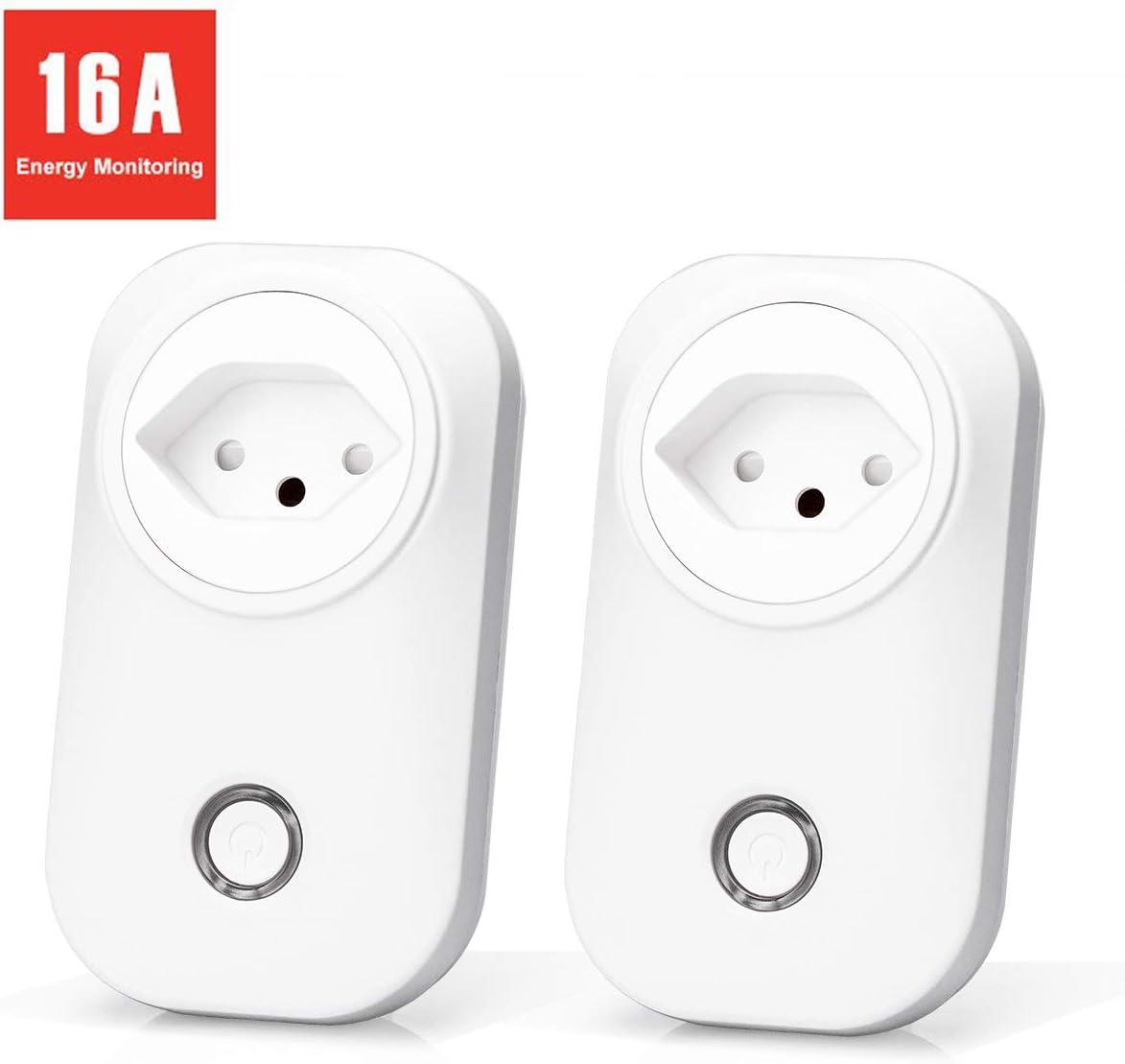 2 Pi/èces Prises Suisses avec Suivi de Consommation /Énergie CH Contr/ôle /à Distance et Commande Vocale Meross Prise Intelligente Compatible avec Alexa Prise Connect/ée WiFi Google Home