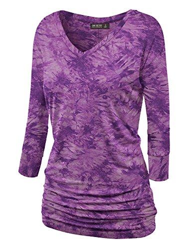 WT1112 Womens V Neck 3/4 Sleeve Tie Dye Drape Dolman Top with Side Shirring L ()
