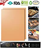 Copper Grill Mat - Non-stick BBQ Grill Mats & Baking Mats,Heat Resistant,Reusable and Easy to Clean-Work on Gas,Electric Barbeque,Charcoal,Oven-16 x 13 Inch(Set of 2)