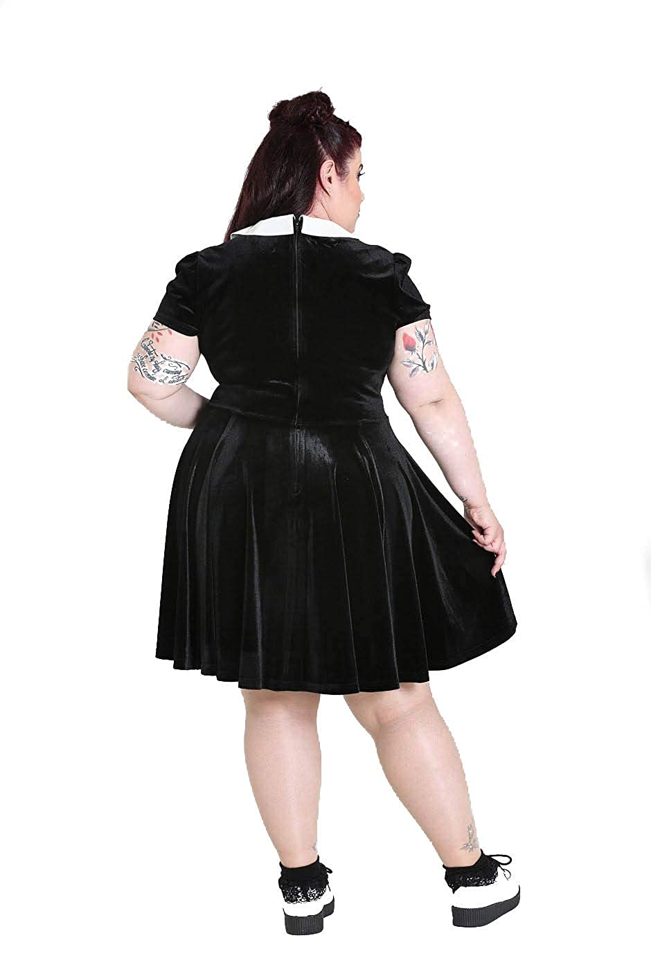 b98154d96b Hell Bunny Plus Size Gothic Wednesday Addams Casper Ghost Mini Dress at  Amazon Women s Clothing store