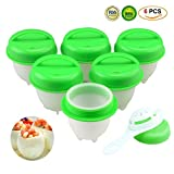 Boiled Egg Cooker,DIY Hard & Soft Poached Egg Cooker Steamer No Shell Non Stick Egg Cups AS SEEN ON TV Silicone Egg Bites Molds 6 Packs