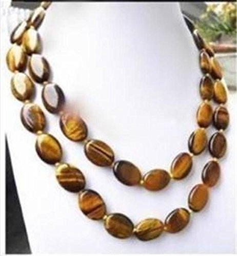 FidgetFidget Natural Beads Necklace 13x18MM Oval Tiger Eye ()