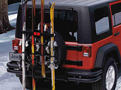 Jeep Ski and Snowboard Carrier-Spare Tire Mounted (Jeep Tire Rack Ski)