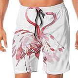 Haixia Men's Casual Swim Short Flamingo Decor Flamingo Couple Kissing Romance P