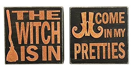 Halloween Signs | Amazon Com Nikki S Knick Knacks Set Of 2 Wood Box Halloween Signs