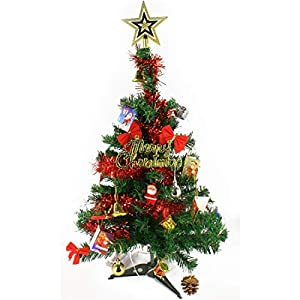 Wideskall 2 Feet Tabletop Artificial Mini Christmas Pine Tree with LED Lights & Ornaments 43