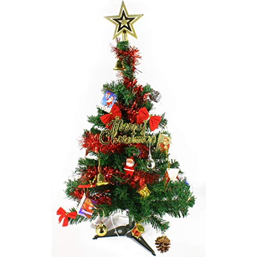Wideskall 2 Feet Tabletop Artificial Mini Green Christmas Pine Tree with 30 Multi-Color LED Lights & 26 Mini Ornaments