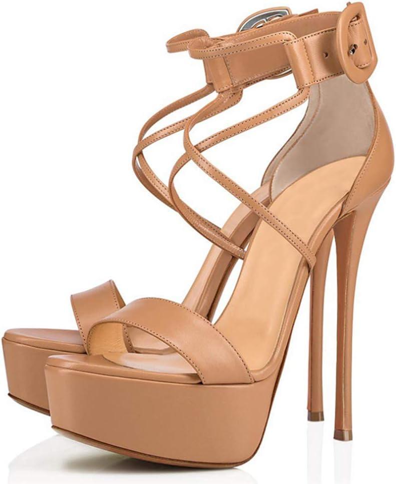 CHUANXIE Chaussures pour Femmes, Boucles de Plate-Forme imperméables à Bout Ouvert, Sandales à Talons Hauts et à Bout de rosée Clear-37