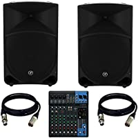 Mackie Thump 15 15 Powered PA Speaker (Pair) With Yamaha MG10XU MIxer + (2) Xlr to Xlr Cables 20ft ea