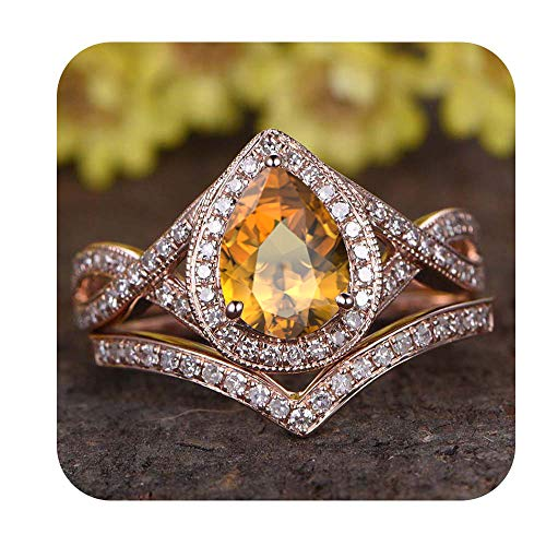 tusakha 6x8mm Pear Cut Created Citrine & Diamond 18k Rose Gold Over .925 Sterling Silver Infinity Wedding Bridal Halo Ring Cuvred Band Set for Women's for Women's