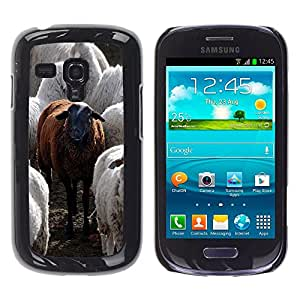 Paccase / SLIM PC / Aliminium Casa Carcasa Funda Case Cover para - Black Sheep Funny Animal Cute Furry - Samsung Galaxy S3 MINI NOT REGULAR! I8190 I8190N