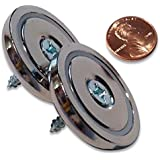"2 Pack Rare Earth Neodymium Round Base or Cup Magnet, 1.42"" Diameter, 70 lbs. Holding Force"