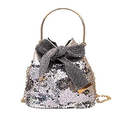 Women's Bow Sequins Messenger Bag,BOLUBILUY❤️ Metal Handbag Chain Wild Bucket Bag Tote Bag Purse Card Package Phone