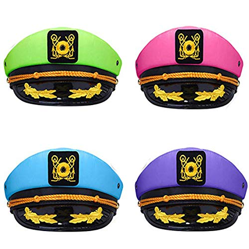 dodowin Yacht Captain Hat for Men Women Adjustable Sailor Hat Captain Hats for Party Blue Green Pink Purple