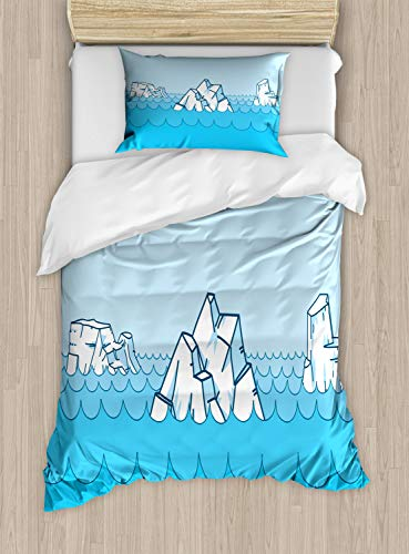 Ambesonne Ice Berg Duvet Cover Set Twin Size, Cartoon Frosty Elements Floating on The Ocean, Decorative 2 Piece Bedding Set with 1 Pillow Sham, Deep Sky Blue Pale Sky Blue Dark Teal Baby Blue