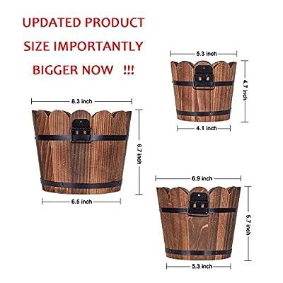 Wooden Bucket Barrel Planters, Rustic Patio Planters Flower Pots for Plants Garden Outdoor Indoor Décor, Set of 3 : Garden & Outdoor