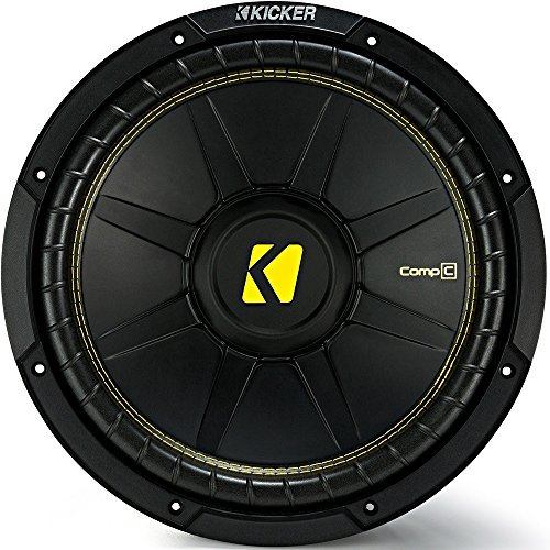 Kicker 12 Inch CompC 300 Watt RMS 4 Ohm Single Voice Coil Subwoofer | 44CWCS124 ()
