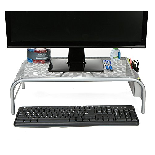 Mind Reader Monitor Stand, Laptop Riser with 2 Storage Compartments, Metal Mesh, ()