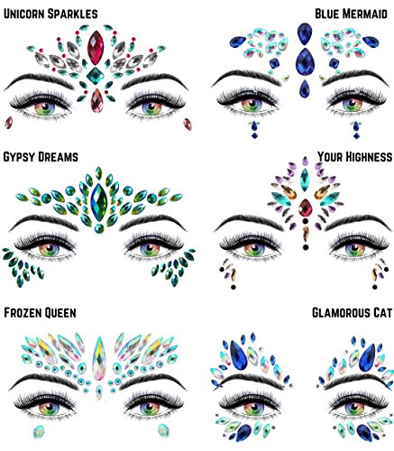 6 Stick On Face Jewels Sets, Gems, Glitter, Gem-Stones, Rhinestones Stickers, Temporary Tattoo - Self-Adhesive, Bindi, Indian, Mermaid Crystals. Accessories For Body, Women, Festivals, Rave, or Party by Luxxe Hour (Image #7)