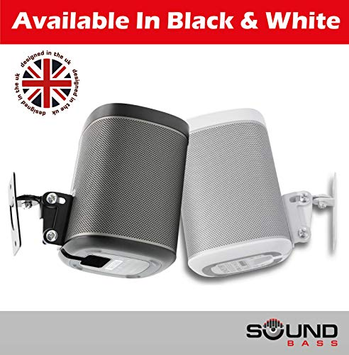 2 x SONOS Play 1 Wall Mount, Twin Pack, (NOT Compatible with SONOS ONE) Adjustable Swivel & Tilt Mechanism, 2 Brackets for Play:1 Speaker with Mounting Accessories, Black by Sound Bass (Image #9)