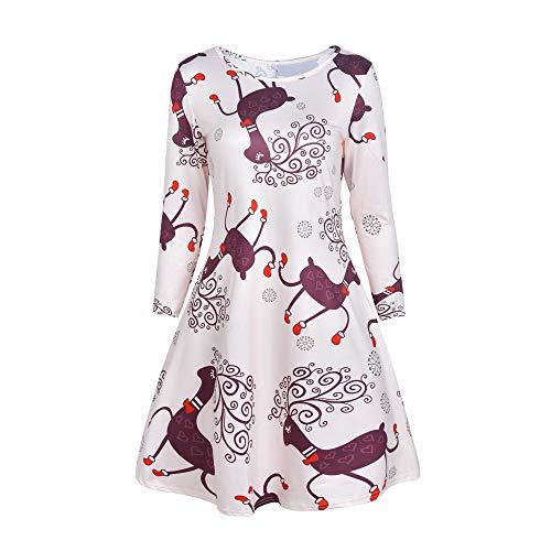 Printed Pullover Beach Vestir Para Navidad Blanco Dress Mini Vintage Redondo Mujer Manga Mujer Bbestseller Boho Verano Cuello Larga Vestido Fiesta 7xawUqU