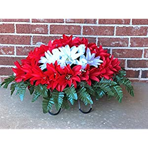 Cemetery Flowers for Headstone and Grave Decoration ~ Red and White Dahlias Mix Saddle 22