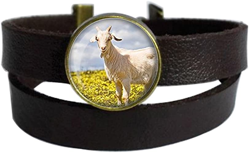 LAROK WAZZIT Two Layers Design Dark Brown Leather Cuff Bangle Goat Farmhouse Farm Girl Pendant Rope Wristband Bracelet with Glass Pendant