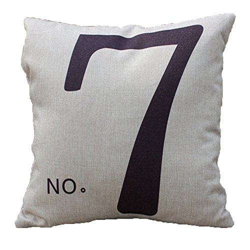 Vanki Letters Printed serial Cotton Linen Square Decorative Throw Pillow Case Cushion Cover 16.5x 16.5 inches ,black number 7 pattern
