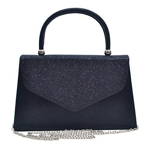 Envelope Clutch Handbag Evening Bag Top Handle Purse Glitter Sequin Prom Black by MKY