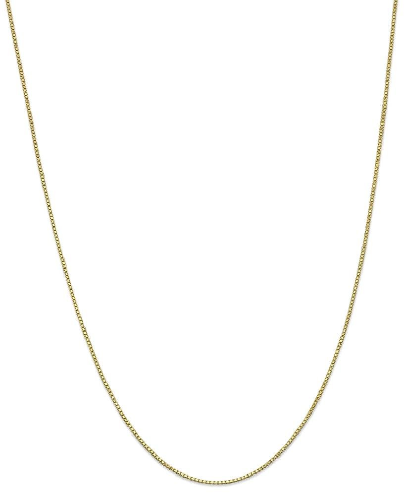 ICE CARATS 10k Yellow Gold 1mm Link Box Necklace Chain Fine Jewelry Gift Set For Women Heart