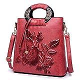 FTSUCQ Womens Floral Vintage Satchels Shoulder Handbags Casual Messenger Bag Hobos Satchels Purse (Red)