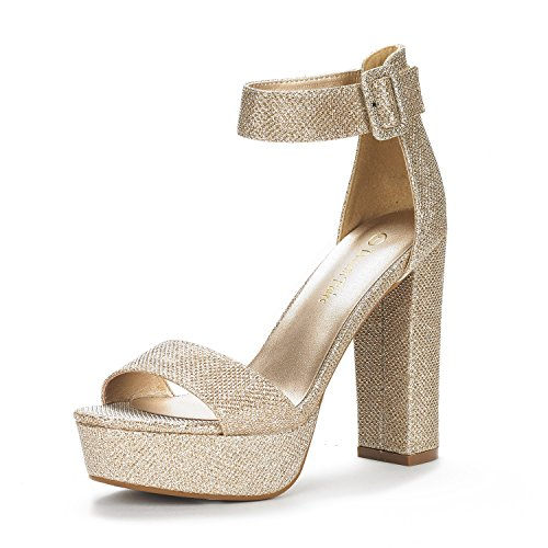 DREAM PAIRS Women's Hi-Lo Gold Glitter High Heel Platform Pump Sandals - 9 M US
