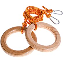 Gymnastic rings for girls and boys - Jungle gym rings for kids toddlers baby - 100% wood gymnastics rings for children - Playground accessories and attachments - Indoor / Outdoor activity gym rings