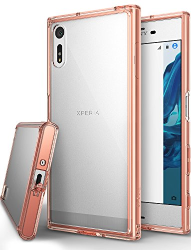 Ringke [FUSION] Compatible with Sony Xperia XZ, XZs Case  Streamlined Fit [Attached Dust Cap] [Impact Resistant/Drop Protection] Ultimate Durable PC Back Flexible TPU Bumper Cover - Rose Gold Crystal