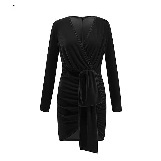 Amazon.com: Vestido de terciopelo para bodycon, vestido de ...