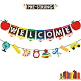 Bessmoso Welcome Banner Kids Back to School Theme Party Apple Pencil Stationery Garland First Day New Grade of Class Pennant Ideas Photo Props Decoration Supplies
